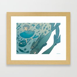 The puddle was an ocean full of fishes Framed Art Print