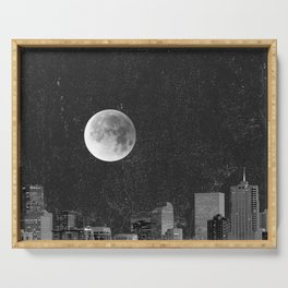 Blood Moon Over Denver Colorado in Black and White Serving Tray