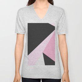 Abstract geometrical pastel pink black triangles Unisex V-Neck