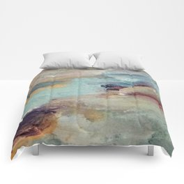 Gentle Beauty [5] - an elegant acrylic piece in deep purple, red, gold, and white Comforters