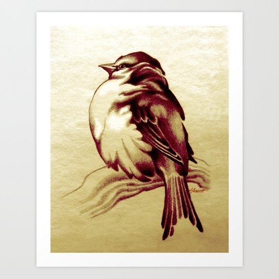 Sparrow in the Cold Art Print