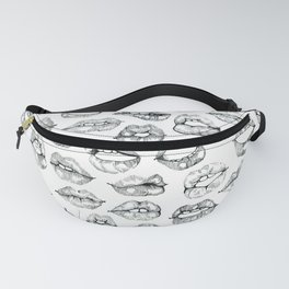 Cute Lips Sketches in Black Fanny Pack