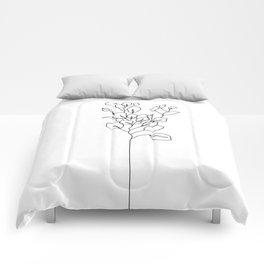 Botanical floral illustration line drawing - Eucalyptus Comforters