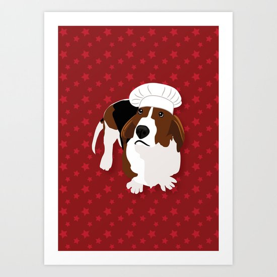Bassets in Hats - Master Chef Art Print