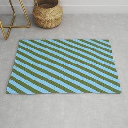 Dark Olive Green & Light Sky Blue Colored Lines Pattern Rug
