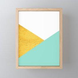 Gold & Aqua Blue Geometry Framed Mini Art Print