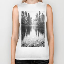 Forest Reflection Lake - Black and White  - Nature Photography Biker Tank