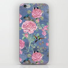 Vintage Watercolor hummingbird and English Roses on blue Background iPhone & iPod Skin