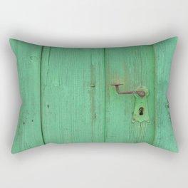 Rusty Door Handle On Green Door Rectangular Pillow