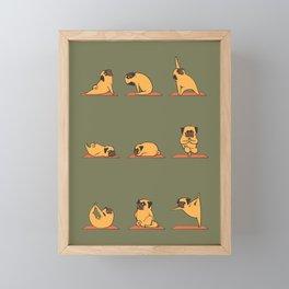 Pug Yoga In Khaki Framed Mini Art Print