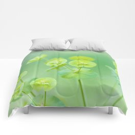 Delicate soft green flowers Comforters