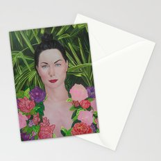 Peony portrait Stationery Cards