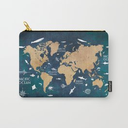 World Map Oceans Life blue #map #world Carry-All Pouch