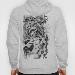 Black And White Half Faced Leopard Hoody