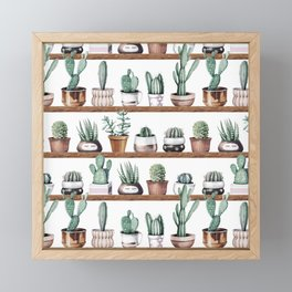 Cactus Shelf Rose Gold Green Framed Mini Art Print