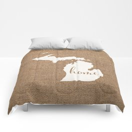 Michigan is Home - White on Burlap Comforters