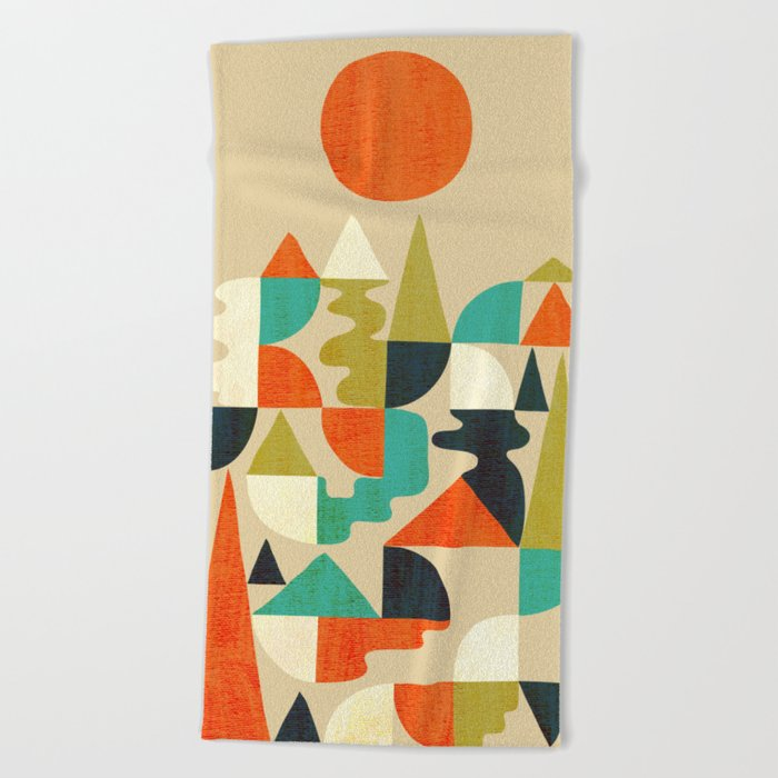 Mountains Hills and Rivers Beach Towel