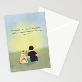How Lucky Am I to Have Something That Makes Saying Goodbye So Hard Man and Dog portrait Stationery Cards