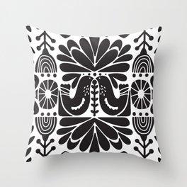 Black Scandinavian Norwegian Folk Art Throw Pillow