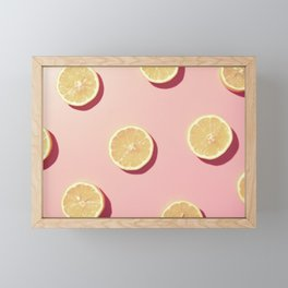 #02_Lemons in pink Framed Mini Art Print