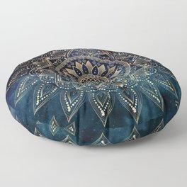 Elegant Gold Mandala Blue Galaxy Design Floor Pillow