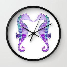 Seahorses |  Together Forever in Cyan Blue & Purple Watercolor Wall Clock