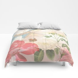Hummingbird & Flowers Nature Collage Comforters