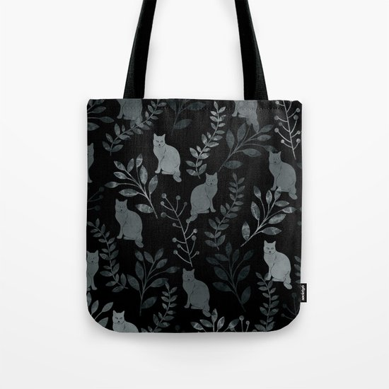 Watercolor Floral and Cat III Tote Bag