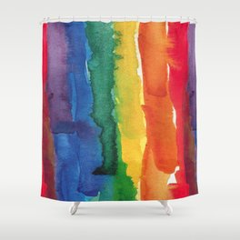 rainbow watercolor Shower Curtain