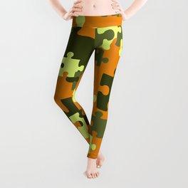 Puzzle green orange pattern Leggings