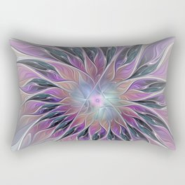 Fantasy Flower, Colorful Abstract Fractal Art Rectangular Pillow
