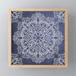 Mandala Vintage White on Ocean Fog Gray Framed Mini Art Print
