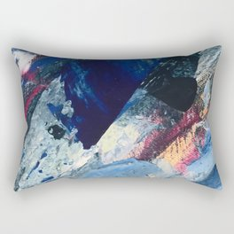 Flourish [1]: a vibrant abstract mixed-media piece in blues, magenta, and gold Rectangular Pillow