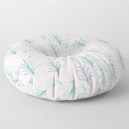 Botanical Beauty Faces Plants on Pink Floor Pillow