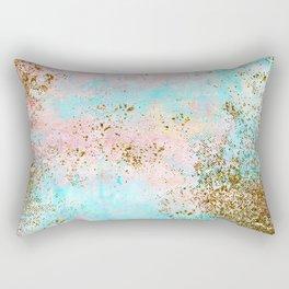 Pink and Gold Mermaid Sea Foam Glitter Rectangular Pillow