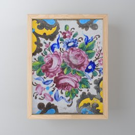 Floral tile yellow turquoise Framed Mini Art Print