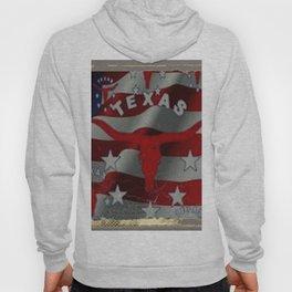 Texas Red & White Americana Longhorn Logo Pattern Art Hoody