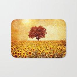 lone tree & sunflowers field Bath Mat