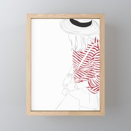 Red Stripe Hat Fashion Girl Framed Mini Art Print