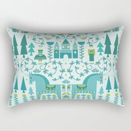 Fairytale Illustration in Blue Rectangular Pillow
