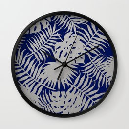 Silver Tropical Leaves over Navy Blue Wall Clock