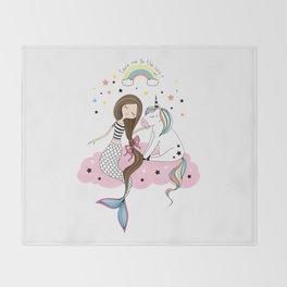 Mermaid & Unicorn White background Throw Blanket