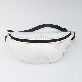 Simply Deconstructed Chevron White Gold Sands on White Fanny Pack