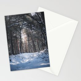 Sun in a snowy forest | The Netherlands Travel Photography | Light Photo Print Stationery Cards