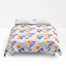Floral Pattern Indigo Orange Blue Comforters