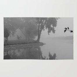 Black and White Foggy River Rug