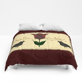 Primitive Tulip And Crows Comforters
