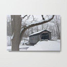 Fallasburg Covered Bridge in Winter Metal Print