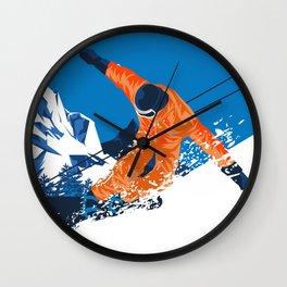 Snowboard Orange Wall Clock