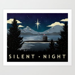 Silent Night - Submarine Christmas Art Print